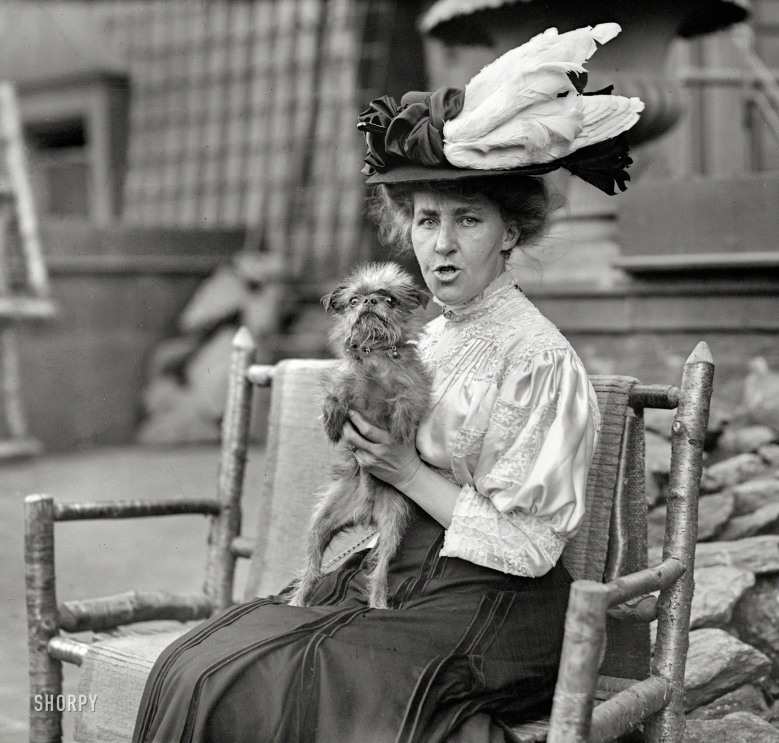 Woman with Dog and Bird